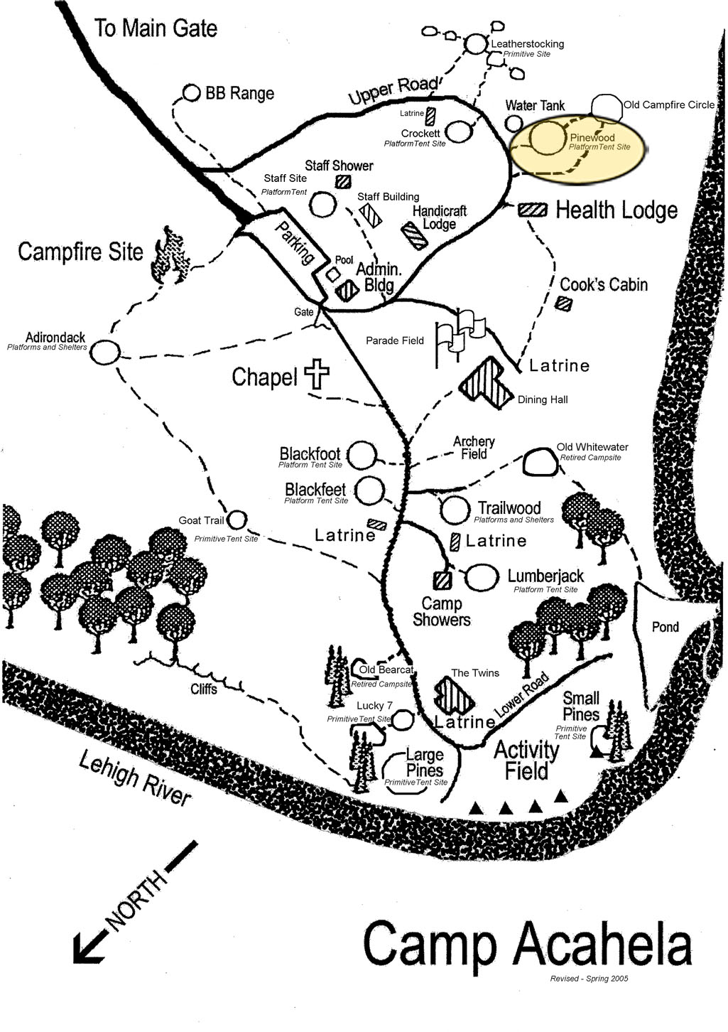 Location of Pinewood Campsite in camp.